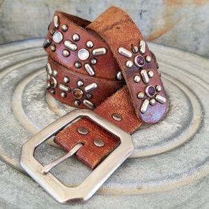 Vintage Studded Jeweled Western Leather Belt